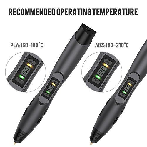3D Stift, Tecboss 3D Pen mit LCD Anzeige, 3d Drucker Stifte für Kinder, Erwachsene, 8 Einstellbare Geschwindigkeit 3D Stifte Kit mit PLA und ABS Modus, Passt für DIY, Kritzelei, Zeichnung und Kunst & Handgefertigte Werke, Schwarz - 4