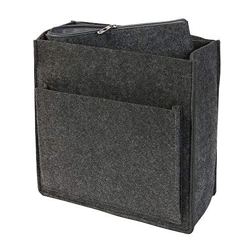 Rucksack Organizer aus Filz, dunkelgrau (Farbe wählbar) für u.a. Fjällräven Totepack No 1 | Taschenorganizer mit Fach für 13 Zoll Laptop