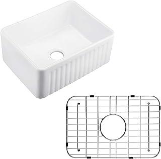 KLXHOME 24 Inch Farmhouse Kitchen Sink White Porcelain Ceramic Apron Front Farmhouse Undermount Single Bowl, S6045W