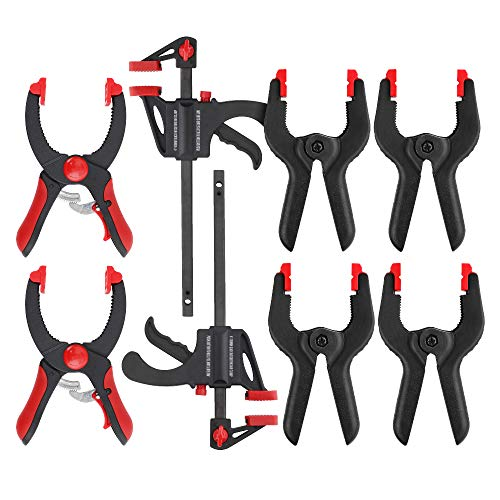 Hi-Spec 8 Piece Spring, Ratchet & Bar Spreader Clamps. Quickly Hold & Position for Woodworking, Photography & DIY. Lightweight, One-Handed Use with Non-Marring Pads