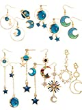 8 Pairs Moon Star Earth Planet Earrings Asymmetrical Vintage Bohemian Earrings Dangle Pendant Earrings Drop Hook Earrings Jewelry for Women