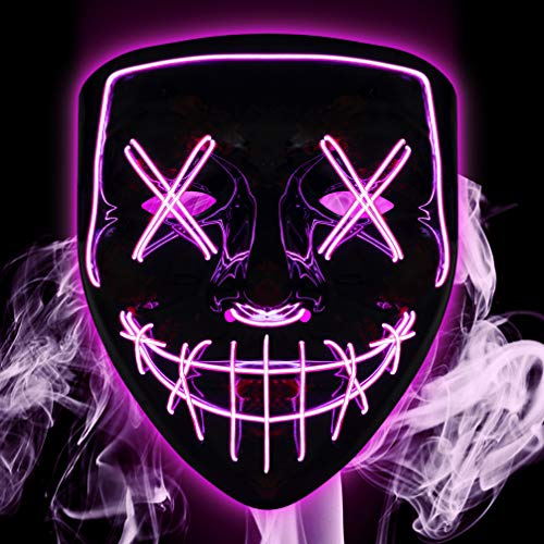 Kyhon Mscara iluminada, disfraz de Halloween, mscara de miedo LED para fiesta de Halloween, festival, fiesta de disfraces, mscaras, cosplay con luz para hombres, mujeres y nios (morado)