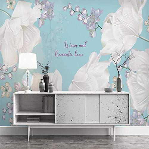 WAFJJ 3D Murales Papel Pintado Flores blancas Pared Calcomanías Decoraciones Fondo Del Sofá De La Sala De Estar Del Paisaje De Los Árboles De Coco Niños Dormit Tamaño:W250XH175 CM