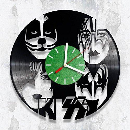 Vinyl Clock, KISS, Rock Fan Gift, Wall Clock, Handmade Clock, Birthday Gift, Wall Decor
