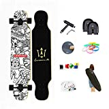 WRISCG Longboard Tabla Completa 25x107cm Skateboard, Drop-Through Freeride Skate Cruiser Boards, Rodamientos ABEC Alta velicidad, 8 Capas Flexible de Arce, por Adulto Principiante,D