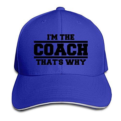 YhsukRuny Custom Im The Coach Thats Why Adjustable Sandwich Hunting Peak Hat/Cap Royalblue