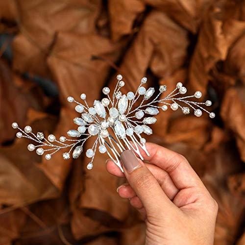 Zoestar Braut Hochzeit Haarkamm Silber Strass Kopfschmuck Blau Opal Kristall Braut Haarschmuck für Braut und Brautjungfern