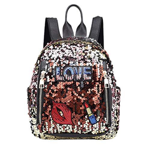 KaloryWee Sac À Dos en Sequins Paillette Sac D'épaule Européen Fille Mode Sauvage Backpack pour Adapté à L'école, Aux Voyages, à L'extérieur