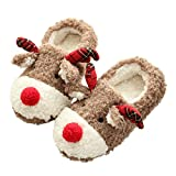 Thgonwid Women's Hand Made Lovely Deer Plush Soft Warm Home Slippers Shoes 5.5-6 US Brown