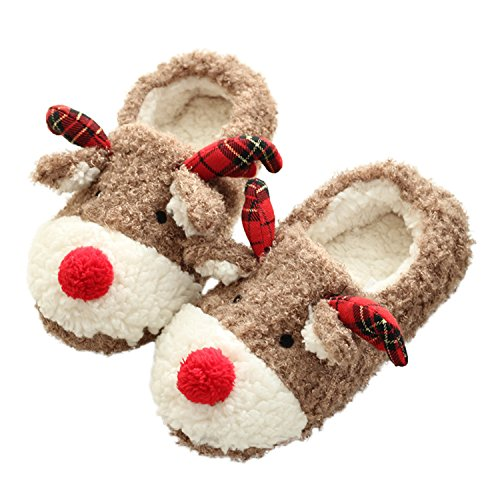 bestfur Hand Made Lovely Deer Plush Soft Warm Home Slippers Shoes Women, 8.5-9, Deer