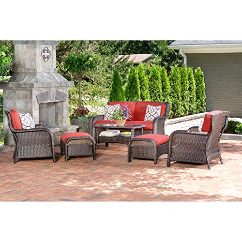 Hanover Strathmere 6-Piece Outdoor Patio Conversation Set, 2 Side Chairs with Ottomans, Loveseat and Tempered Glass Coffee Table, with Hand-Woven Wicker and Thick Crimson Red Cushions, STRATHMERE6PCRED