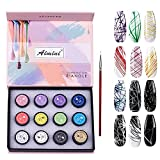 COOSA 12 Colors Spider Gel Matrix Gel with Gel Paint Design Nail Art with Brushes Pulling Line Silk Drawing And Painting Decoration(8ml)