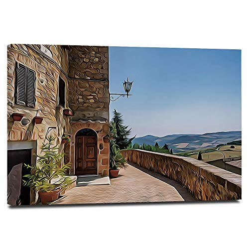 """ZHOUHAOMAOYI Oil Painting Style Canvas Wall Art,Italian Decor,The Walls of Pienza in Tuscany Historical European Landmark,Light Brown Green Light Blue for Home Decorations 31.5""""x19.7"""""""