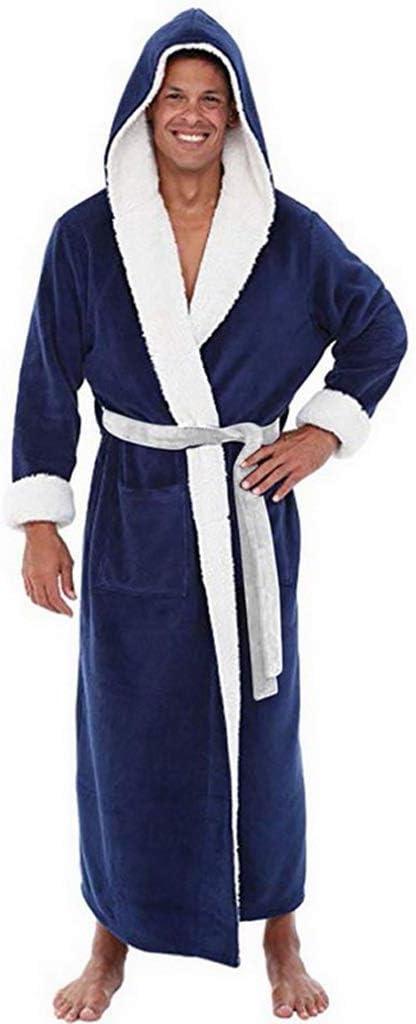 UXZDX CUJUX Robe Man Winter Plus Size Coral Fleece Men's Bathrobe Kimono Warm Flannel Bath Robe Men Cozy Robes Night Sleepwear Pajamas Man (Color : A, Size : X-Large)