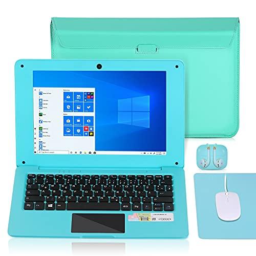 Laptop 10.1 Zoll Notebook , Windows 10 Quad Core Netbook Computer Netflix,YouTube,WiFi,HDMI, mit Laptoptasche, Maus, Mauspad, Kopfhörer (Blau)