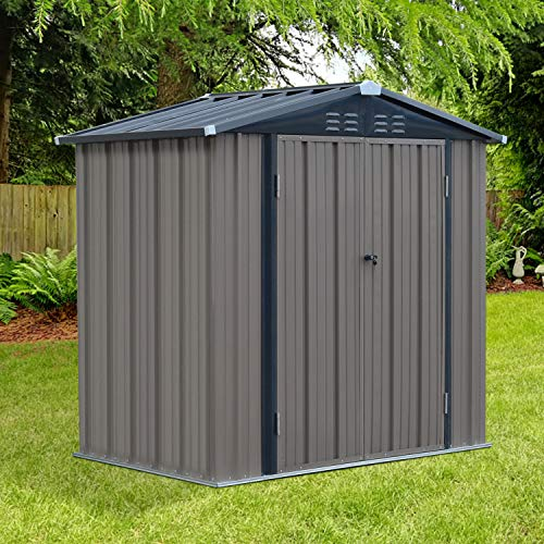 Kinbor Outdoor Storage Sheds and Buildings, Galvanized Steel Shed Utility Tool Storage with Double Door for Backyard Patio Garden Deck (6' x 4')