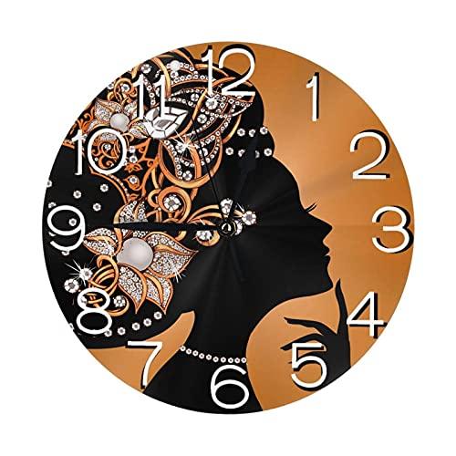 Decoración del hogar, Reloj de Pared Redondo de Mujer Negra afroamericana para niñas, Relojes Decorativos silenciosos de acrílico Que no Hacen tictac para la Cocina de la Sala de Estar