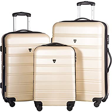 Merax Travelhouse Luggage 3 Piece Expandable Spinner Set (Gold)