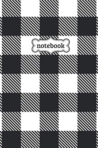 Notebook: Black White Buffalo Check Plaid Flannel Lumberjack Pattern Journal - Lined Journal & Diary for Writing Taking Notes (6