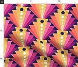 Spoonflower Stoff – Geometrischer Fächer Retro Koralle