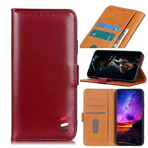 Wuzixi Funda para Wiko Jerry 4. Ranuras para Tarjetas, PU Cuero Flip Folio Carcasa, con Soporte Plegable Apto para Wiko Jerry 4 Smartphone.Rojo