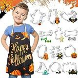 Set Cucina Bambini con Formine Biscotti Halloween Grembiule da Cucina Costumi Bambina Halloween Regalo per Bimba 3-7 Anni DIY Decorazioni Dolci Biscotti