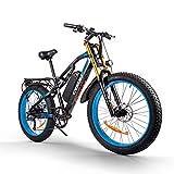 RICH BIT CM-900 Bicicleta eléctrica para Adultos 48V Bicicleta de Ejercicio eléctrica sin escobillas, batería de Litio Desmontable 17Ah Freno hidráulico de Bicicleta de montaña (Blanco Azul)