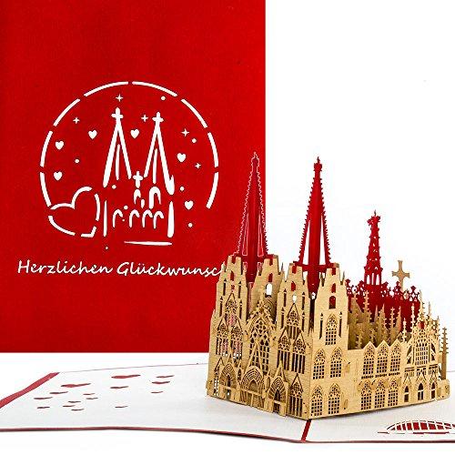 """3D Pop Up Karte\""""Kölner Dom - Herzlichen Glückwunsch\"""" - Köln Souvenir als Geburtstagskarte, Hochzeitskarte, Reisegutschein, Geschenk, Glückwunschkarte zum Geburtstag, Souvenir & Fanartikel"""