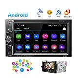 Camecho Double Din Android Car Stereo Radio 6.2'' Touch Screen DVD/CD Player Build-in GPS Navigation WiFi Bluetooth Support Android iOS Mirror Link with FM/AM/USB/SD/Backup Camera Input/APP Download