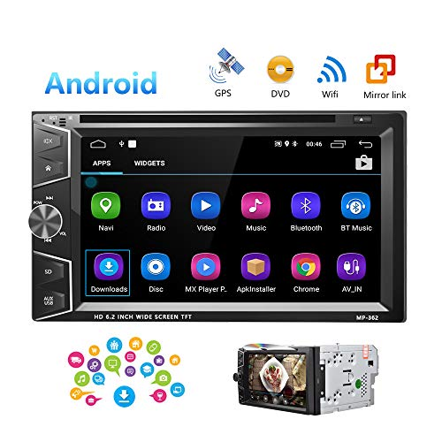 Camecho Double Din Android Car Stereo Radio 6.2'' Touch Screen DVD/CD Player Build-in GPS Navigation WiFi Bluetooth Support Android iOS Mirror Link with FM/USB/SD/Backup Camera Input/APP Download