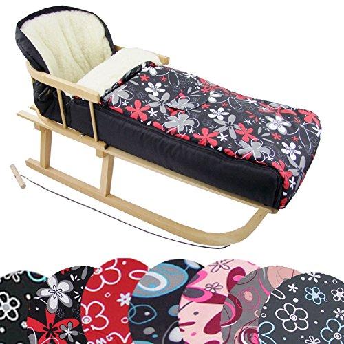 BAMBINIWELT Kombi-Angebot Holz-Schlitten mit Rückenlehne & Zugseil + universaler Winterfußsack (108cm), auch geeignet für Babyschale, Kinderwagen, Buggy, aus Wolle Design (schwarz rote Blumen)