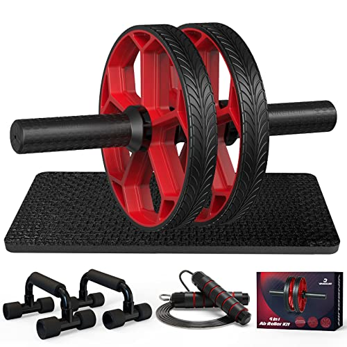 Ab Workout Equipment - Ab Roller Wheel & Push Up Bars & Jump Rope &...