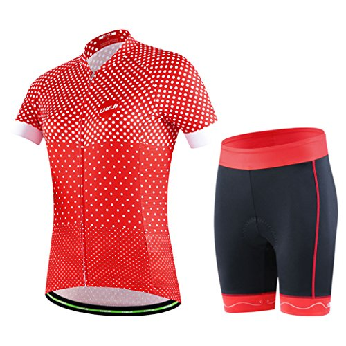 GWELL Damen Fahrradtrikot Set Fahrradbekleidung Atmungsaktiv Fahrrad Trikot Kurzarm + Radhose mit 3D Sitzpolster Muster-A XL