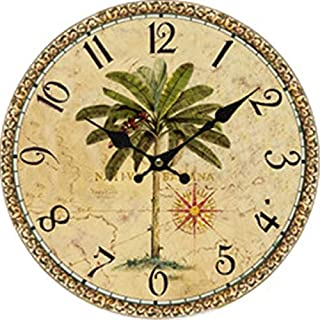 Palm Tree Reclaimed Wood Clock 14 Inches Wall Art Decorative Wall Clock Non-Ticking Housewarming Gift
