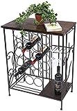 DanDiBo Weinregal mit Ablage 12977 Flaschenregal mit Glashalter 83 cm Braun Metall Holz Flaschenhalter Weinschrank Regal stehend