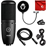 AKG P120 Cardioid Condenser High-Performance General Purpose Recording Microphone Bundle with 10-Foot XLR Cable, Pop Filter, Cable Ties and Microfiber Cloth