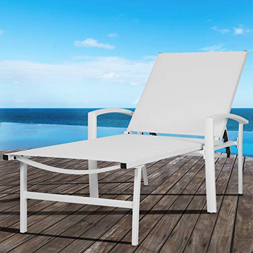 Nuu Garden Outdoor Folding Aluminum and Textilene Reclining Lounge Chair, Adjustable Beach Chair, Lightweight Portable Sling Recliner for Lawn, Pool, Yard-White