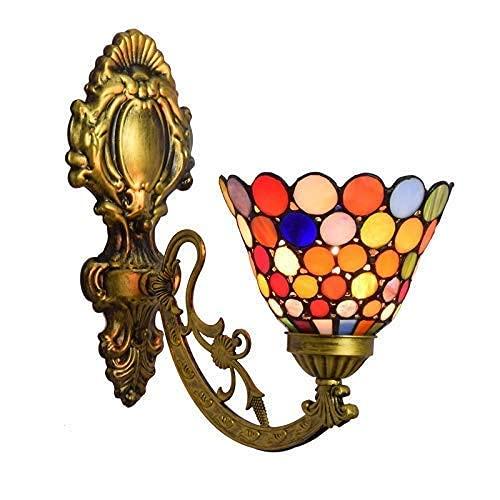 DALUXE Luz de Pared de Estilo Tiffany de 8 Pulgadas, lámpara de Cabeza Simple, Vidrio Manchado de escoce, luz de Pared para habitación