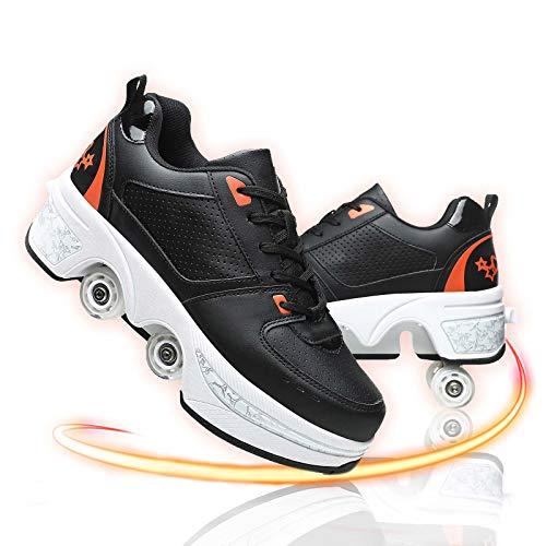 GGXINT Zapatos con Ruedas para Niños Y Niña Aire Libre Y Deporte Gimnasia Running Zapatillas Automática Calzado De Skateboarding,Black Orange,39