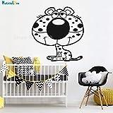 Hjnsxs Tatuajes de Pared de Animales de Vinilo Dibujos Animados Leopardo niños decoración del hogar habitación de bebé Autoadhesivo Lindo Mural regalo-50X52cm