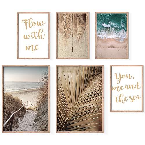 Bold Design Poster Set Strand & Meer - 4 x DIN A4 & 2 x DIN A3 - Harmonierende Bilder für Wohnzimmer & Schlafzimmer - 6 Wandposter ohne Rahmen (weiß/blau/Sand)