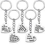 5 Pack Teacher Gift Key Ring Heart Shaped Charm Keychain for Women (Heart Pendant)