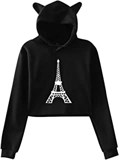 Cat Ear Hoodie Sweater for Women Paris France Eiffel Tower1-1 Fashion Exposed Navel Hoody Sweater