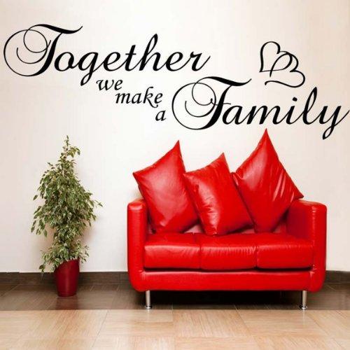 Windsor Designers Together We Make a Family avec cœur. de Stickers muraux Décoration Murale Chambre à Coucher de Salle de Bain Autocollant, Noir, Medium -Size 120cm x 40cm