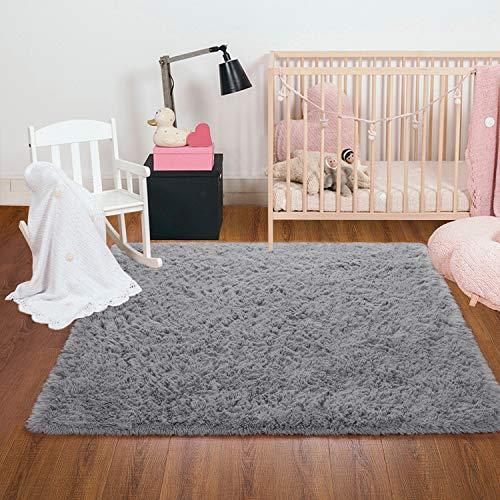 Ompaa Fluffy Rug, Super Soft Fuzzy Gray Area Rugs for Bedroom Living Room - 3' x 5' Large Plush Furry Shag Rug - Kids Playroom Nursery Classroom Dining Room Decor Floor Carpet
