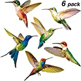 Blulu Hummingbird Window Clings Anti-Collision Window Clings Decals to Prevent Bird Strikes on Window Glass Non Adhesive Vinyl Cling Hummingbird Stickers (6 Pieces)