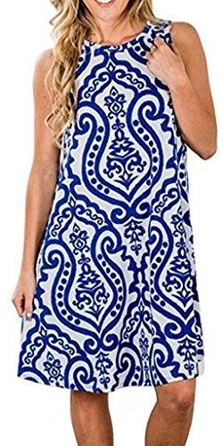Casual Tshirt Dresses for Women Boho Sundress Floral Tank Sleeveless Swing Dress S BU Blue