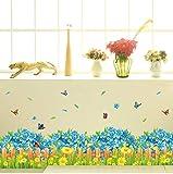 Amarillo azul flor zócalo planta jardín valla mariposa zócalo pegatinas de pared dormitorio sala pasillo esquina decoración de la pared 136 * 40 cm