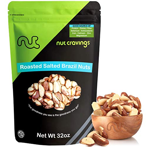 Nut Cravings - Brazil Nuts Roasted & Salted (2 Pounds) – Whole, Roasted, Salted, No Shell Brazilian Nuts – 32 Ounce