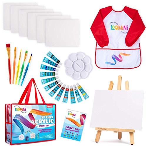 Paint Set for Kids   Premium Art Supplies for Boys & Girls   27 Piece Acrylic Paint Set Includes Canvas Panels, Paint Brushes, Kids Apron, Tabletop Art Easel & Storage Travel Bag